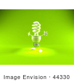 #44330 Royalty-Free (Rf) Illustration Of A Green 3d Spiral Fluorescent Light Mascot Holding His Arms Open - Version 2