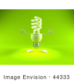 #44333 Royalty-Free (Rf) Illustration Of A Green 3d Spiral Fluorescent Light Mascot Holding His Arms Open - Version 1