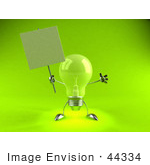 #44334 Royalty-Free (Rf) Illustration Of A Green 3d Incandescent Light Bulb Mascot Holding A Blank Sign On A Post - Version 4
