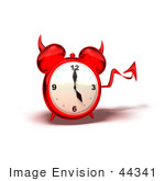 #44341 Royalty-Free (RF) Illustration of a 3d Devil Red Alarm Clock With A Forked Tail - Version 4 by Julos
