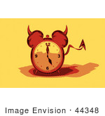 #44348 Royalty-Free (Rf) Retro Illustration Of A Devil Red Alarm Clock With A Forked Tail - Version 5
