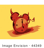 #44349 Royalty-Free (Rf) Retro Illustration Of A Devil Red Alarm Clock With A Forked Tail - Version 6