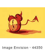 #44350 Royalty-Free (Rf) Retro Illustration Of A Devil Red Alarm Clock With A Forked Tail - Version 7
