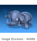 #44369 Royalty-Free (Rf) Illustration Of A 3d Blue Elephant Mascot Spraying Water - Pose 3