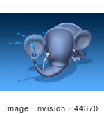 #44370 Royalty-Free (Rf) Illustration Of A 3d Blue Elephant Mascot Spraying Water - Pose 2