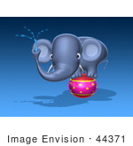 #44371 Royalty-Free (Rf) Illustration Of A 3d Blue Elephant Mascot Standing On A Circus Ball And Spraying Water - Pose 1