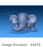 #44372 Royalty-Free (Rf) Illustration Of A 3d Blue Elephant Mascot Spraying Water - Pose 1