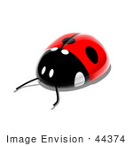 #44374 Royalty-Free (Rf) Illustration Of A 3d Shiny Ladybug - Pose 3
