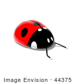 #44375 Royalty-Free (Rf) Illustration Of A 3d Shiny Ladybug - Pose 1