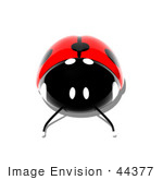 #44377 Royalty-Free (Rf) Illustration Of A 3d Shiny Ladybug - Pose 2
