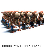 #44379 Royalty-Free (Rf) Illustration Of Rows Of 3d Business Monkeys Carrying Briefcases - Version 3
