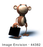 #44382 Royalty-Free (Rf) Illustration Of A 3d Monkey Mascot Businessman Carrying A Briefcase - Version 4