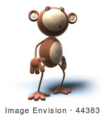 #44383 Royalty-Free (Rf) Illustration Of A 3d Monkey Mascot With A Confused Expression - Version 4