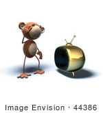 #44386 Royalty-Free (Rf) Illustration Of A 3d Monkey Mascot Watching Tv - Version 2