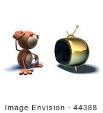 #44388 Royalty-Free (Rf) Illustration Of A 3d Monkey Mascot Watching Tv - Version 4