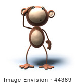 #44389 Royalty-Free (Rf) Illustration Of A 3d Monkey Mascot With A Confused Expression - Version 6