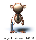 #44390 Royalty-Free (Rf) Illustration Of A 3d Monkey Mascot Businessman Carrying A Briefcase - Version 2