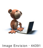 #44391 Royalty-Free (Rf) Illustration Of A 3d Monkey Mascot Using A Laptop - Version 2
