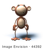 #44392 Royalty-Free (Rf) Illustration Of A 3d Monkey Mascot With A Confused Expression - Version 2