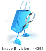 #44394 Royalty-Free (Rf) Illustration Of A 3d Blue Shopping Bag Mascot Using A Magnifying Glass