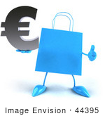 #44395 Royalty-Free (Rf) Illustration Of A Blue 3d Shopping Bag Mascot With Arms And Legs Holding A Euro Symbol - Pose 3