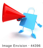 #44396 Royalty-Free (Rf) Illustration Of A 3d Blue Shopping Bag Mascot Announcing Through A Megaphone