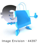 #44397 Royalty-Free (Rf) Illustration Of A Blue 3d Shopping Bag Mascot With Arms And Legs Holding A Euro Symbol - Pose 2