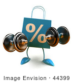 #44399 Royalty-Free (Rf) Illustration Of A 3d Blue Percent Shopping Bag Mascot Lifting Weights