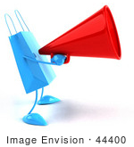#44400 Royalty-Free (Rf) Illustration Of A 3d Blue Shopping Bag Mascot Using A Megaphone