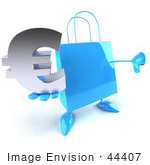 #44407 Royalty-Free (Rf) Illustration Of A Blue 3d Shopping Bag Mascot With Arms And Legs Holding A Euro Symbol - Pose 1