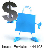 #44408 Royalty-Free (Rf) Illustration Of A Blue 3d Shopping Bag Mascot With Arms And Legs Holding A Dollar Symbol - Pose 4