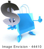 #44410 Royalty-Free (Rf) Illustration Of A Blue 3d Shopping Bag Mascot With Arms And Legs Holding A Dollar Symbol - Pose 2