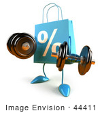 #44411 Royalty-Free (Rf) Illustration Of A 3d Blue Percent Shopping Bag Mascot Holding Weights