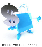 #44412 Royalty-Free (Rf) Illustration Of A Blue 3d Shopping Bag Mascot With Arms And Legs Holding A Dollar Symbol - Pose 1