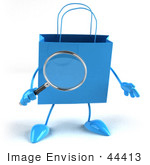 #44413 Royalty-Free (Rf) Illustration Of A 3d Blue Shopping Bag Mascot Holding A Magnifying Glass