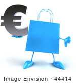 #44414 Royalty-Free (Rf) Illustration Of A Blue 3d Shopping Bag Mascot With Arms And Legs Holding A Euro Symbol - Pose 4