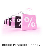 #44417 Royalty-Free (Rf) Illustration Of A Row Of 3d Pink And Black Percent Sign Shopping Bags