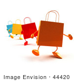 #44420 Royalty-Free (Rf) Illustration Of A 3d Line Of Colorful Shopping Bags Waddling Forward - Version 1