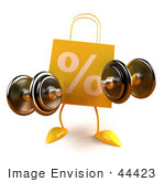 #44423 Royalty-Free (Rf) Illustration Of A 3d Yellow Percent Shopping Bag Mascot Holding Weights