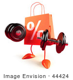 #44424 Royalty-Free (Rf) Illustration Of A 3d Orange Percent Shopping Bag Mascot Lifting Weights