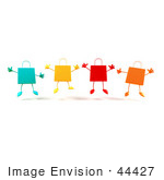 #44427 Royalty-Free (Rf) Illustration Of A 3d Group Of Colorful Shopping Bags Jumping - Version 1