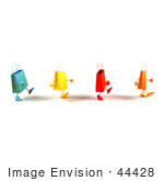 #44428 Royalty-Free (Rf) Illustration Of A 3d Line Of Waddling Colorful Shopping Bags - Version 2