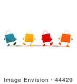 #44429 Royalty-Free (Rf) Illustration Of A 3d Row Of Colorful Shopping Bags Walking Forward - Version 1
