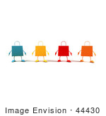 #44430 Royalty-Free (Rf) Illustration Of A 3d Line Of Colorful Shopping Bags Facing Front - Version 1
