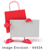 #44434 Royalty-Free (Rf) Illustration Of A 3d Red Shopping Bag Mascot Pointing At And Holding A Blank Business Card