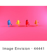 #44441 Royalty-Free (Rf) Illustration Of A 3d Line Of Waddling Colorful Shopping Bags - Version 1