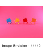 #44442 Royalty-Free (Rf) Illustration Of A 3d Row Of Colorful Shopping Bags Walking Forward - Version 2