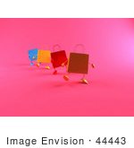 #44443 Royalty-Free (Rf) Illustration Of A 3d Line Of Colorful Shopping Bags Waddling Forward - Version 2