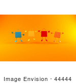 #44444 Royalty-Free (Rf) Illustration Of A 3d Group Of Colorful Shopping Bags Jumping - Version 2