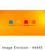 #44445 Royalty-Free (Rf) Illustration Of A 3d Line Of Colorful Shopping Bags Facing Front - Version 2